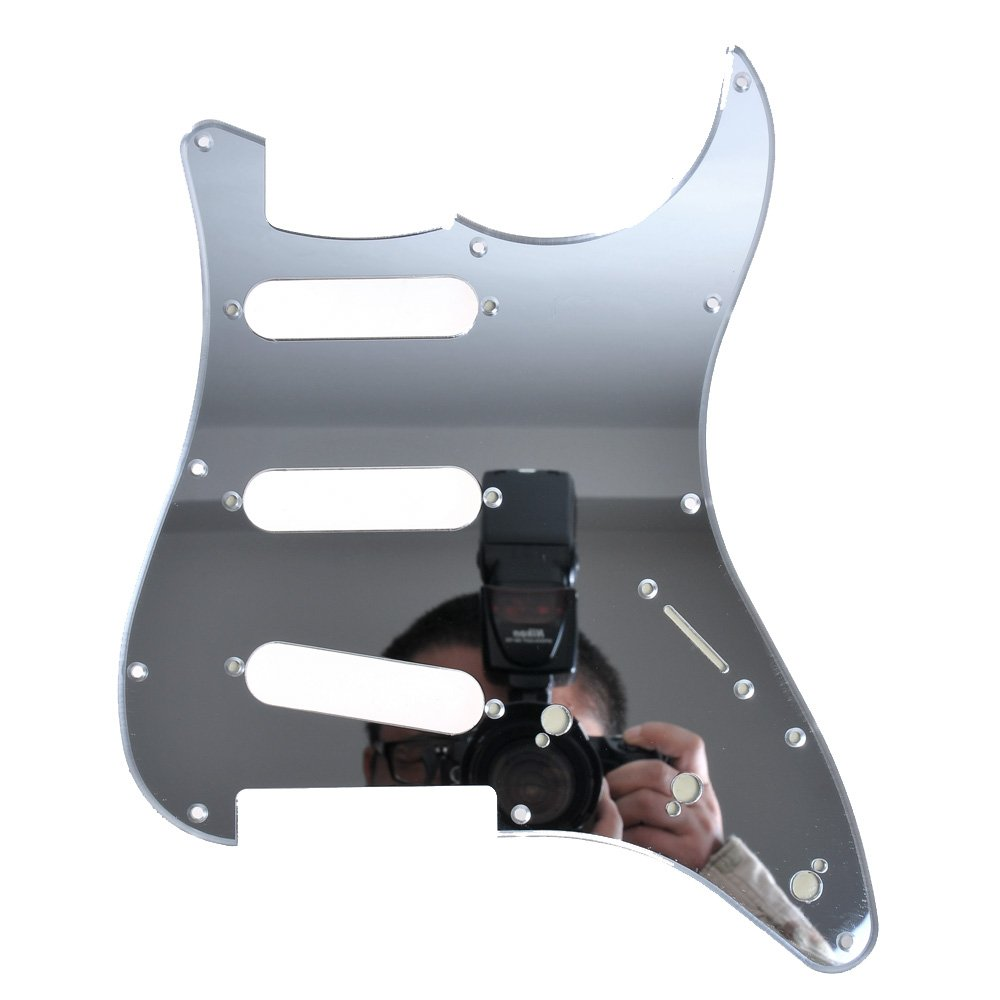 1pc 3-ply 11 Holes SSS Mirror Pickguard for Fender Strat Style Guitar Replacement