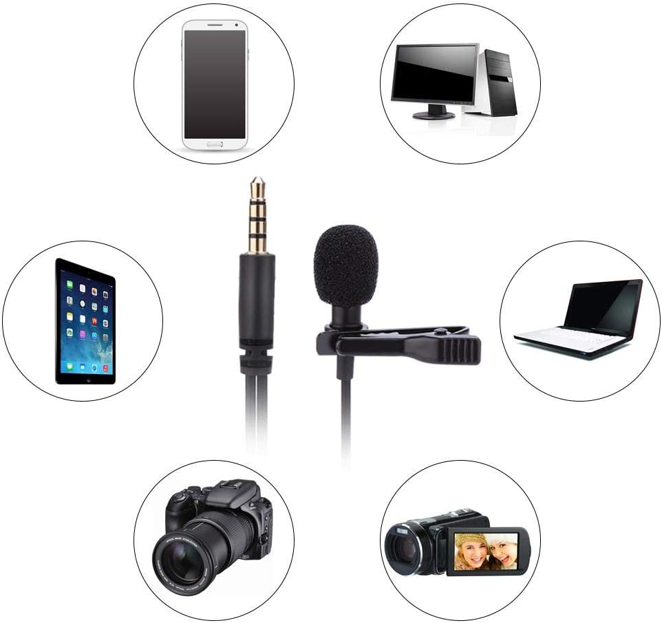 Pusokei Lavalier Lapel Microphone,Mini Wired Clip On Microphone Omnidirectional Condenser Microphone with 3.5mm Jack for Hands Free Headset