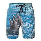 DELIDAA Dolphins Couple Men Boy's Casual Quick-Drying Beach Pant Swim Board TrunksMedium