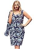 Jessica London Women's Plus Size Flounce Sleeve Ponte Jacket Dress Watercolor