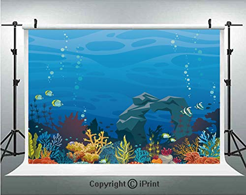 Aquarium Photography Backdrops Colorful Coral Reef with Fishes and Stone Arch Under the Sea Natural Seascape Decorative,Birthday Party Background Customized Microfiber Photo Studio - Natural Micro Reef Aquarium