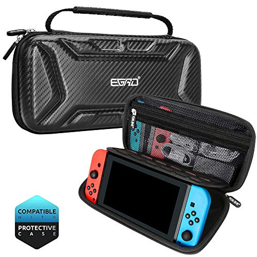 EGRD Carry Case for Nintendo Switch – Portable All Protective Hard Shell Switch Carrying Case – Travel Case with Holder Design& 15 Games for Nintendo Switch Console& Accessories – Black