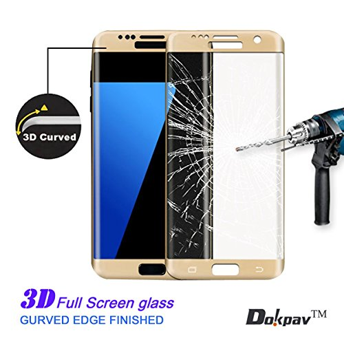 S7 Edge Screen Protector, Dokpav® Ultra Slim Samsung Galaxy S7 Edge 3D Tempered Glass Full Screen Protector, Protective Film Anti-scratch Anti-fingerprint for S7 Edge (Gold)