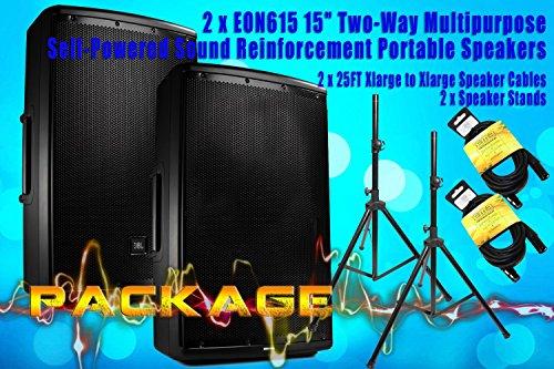 """PACKAGE Two x JBL EON615 15"""" Reinforcement Portable Speak..."""