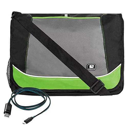 Green SumacLife Compact Design Canvas Briefcase Messenger Shoulder Bag Toshiba Satellite C, L Series 15.6 inch with Micro USB Cable