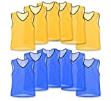 Unlimited Potential Nylon Mesh Scrimmage Team Practice Vests Pinnies Jerseys for Children Youth Sports Basketball, Soccer, Football, Volleyball (6 Yellow / 6 Blue, Youth)