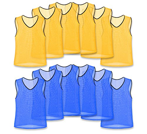 Unlimited Potential Nylon Mesh Scrimmage Team Practice Vests Pinnies Jerseys for Children Youth Sports Basketball, Soccer, Football, Volleyball (6 Yellow / 6 Blue, Adult) - Team Practice Drills