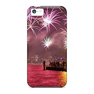 High Grade StaceyBudden Cases For Iphone 5c - Fireworks Above A Colorful Harbor