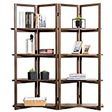 Modern Dark Brown Wood 4-Panel Open Bookcase Room Divider, 4 Tier Display Shelf Rack