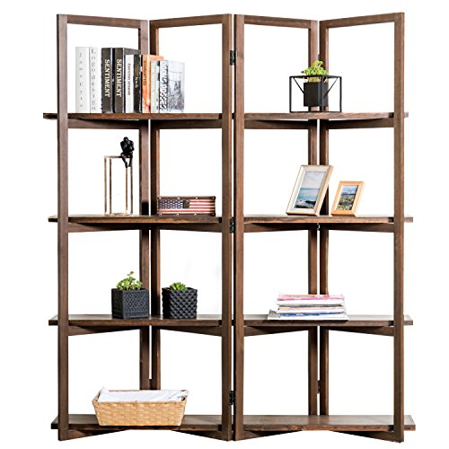 (Modern Dark Brown Wood 4-Panel Open Bookcase Room Divider, 4 Tier Display Shelf Rack)