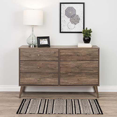 Prepac Milo Mid Century Modern 6 Drawer Double Dresser in Drifted Gray ()