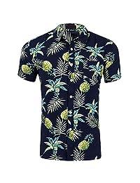 FLY HAWK Mens Hawaiian Shirt, Short Sleeve Button Down Casual Floral Beach Party Dress Shirt
