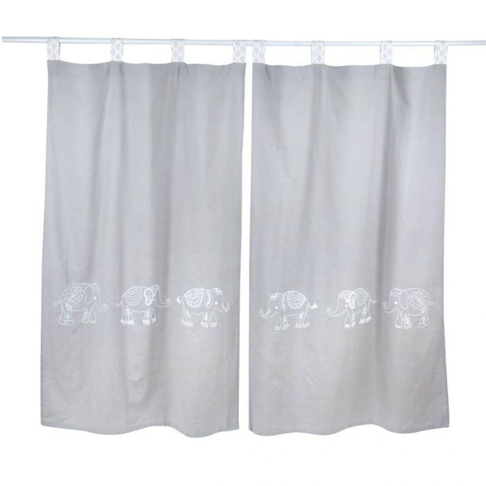 Grey Elephant Patchwork Crib Bedding Accessory - Window Curtain