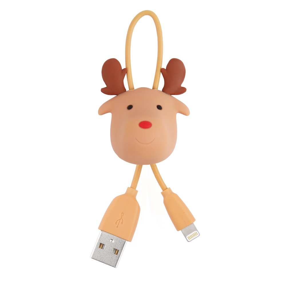 [Apple MFI Certified] Novice Rudolph The Red Nose Reindeer Lightning to USB Apple Cable Portable & Key Chain as Christmas Gift for iPhone iPad iPod