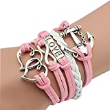 Nally Fashion Leather Multilayer Bracelet . Trendy Leather Wrap Charm Bracelet. Genuine Leather Bracelet for Teenage Girls & Young Women. Vintage Rope Multilayer Bracelet with Stainless Steel Charms.