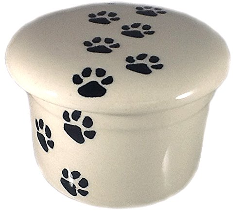 Polish Pottery Butter Keeper Crock Dish in Pattern LAPA Paw Prints