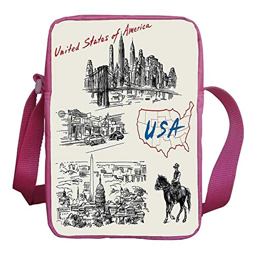 American Stylish Kids Crossbody Bag,Hand Drawn USA Map Nostalgic Landscapes Skyscrapers Cowboy with Horse Metropolis for Girls,9