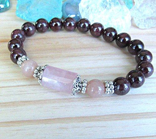 Goddess bracelet, Garnet Bracelet with Rose quartz & peach moonstone, Fertility bracelet, red mala, custom to fit sizing, Passion bracelet, reiki charged. Made in the USA with free US ()