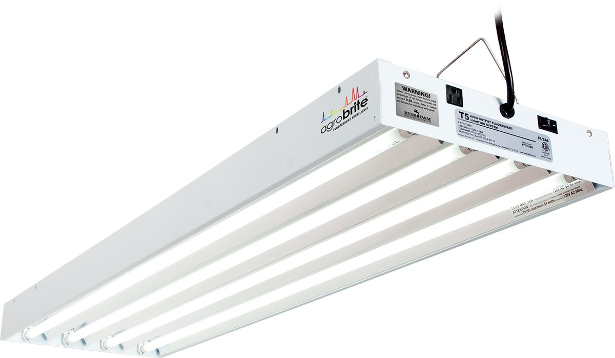 Agrobrite FLT44 T5 Fluorescent Grow Light System, 4 Feet, 4 Tube by Hydrofarm