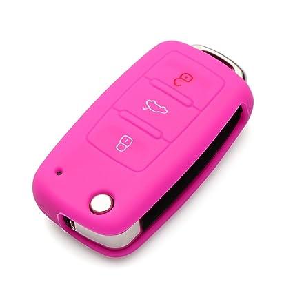 9 MOON Carcasa de Silicona Suave con 3 Botones para Llave de VW, Golf, Seat, Skoda (Entre Otros)