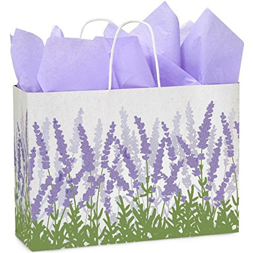 Lavender Fields Paper Shopping Bags - Vogue Size - 16 x 6 x 12in. - Pack of 250 by NW