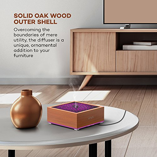 VAVA Essential Oil Diffuser with Real Oak Wood, 8-16 Hours Working Time Aroma Diffuser, Japanese Zen Design Ultrasonic Diffusers, Diffusers for Essential Oils, Waterless Auto Shut-off