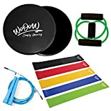 "Full Body Workout Kit: Gliding Discs and 5 Resistance Bands + Jump Rope + ""8Shape"" Band - Equipment for Home Exercises – Core Sliders and Loop Bands Set for Men Women 