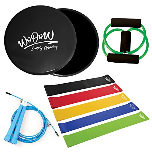 """Full Body Workout Kit: Gliding Discs and 5 Resistance Bands + Jump Rope + """"8Shape"""" Band - Equipment for Home Exercises – Core Sliders and Loop Bands Set for Men Women   Bag Included by WoOoW"""