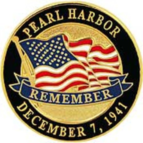 American Flag Remember Pearl Harbor Pin 1""