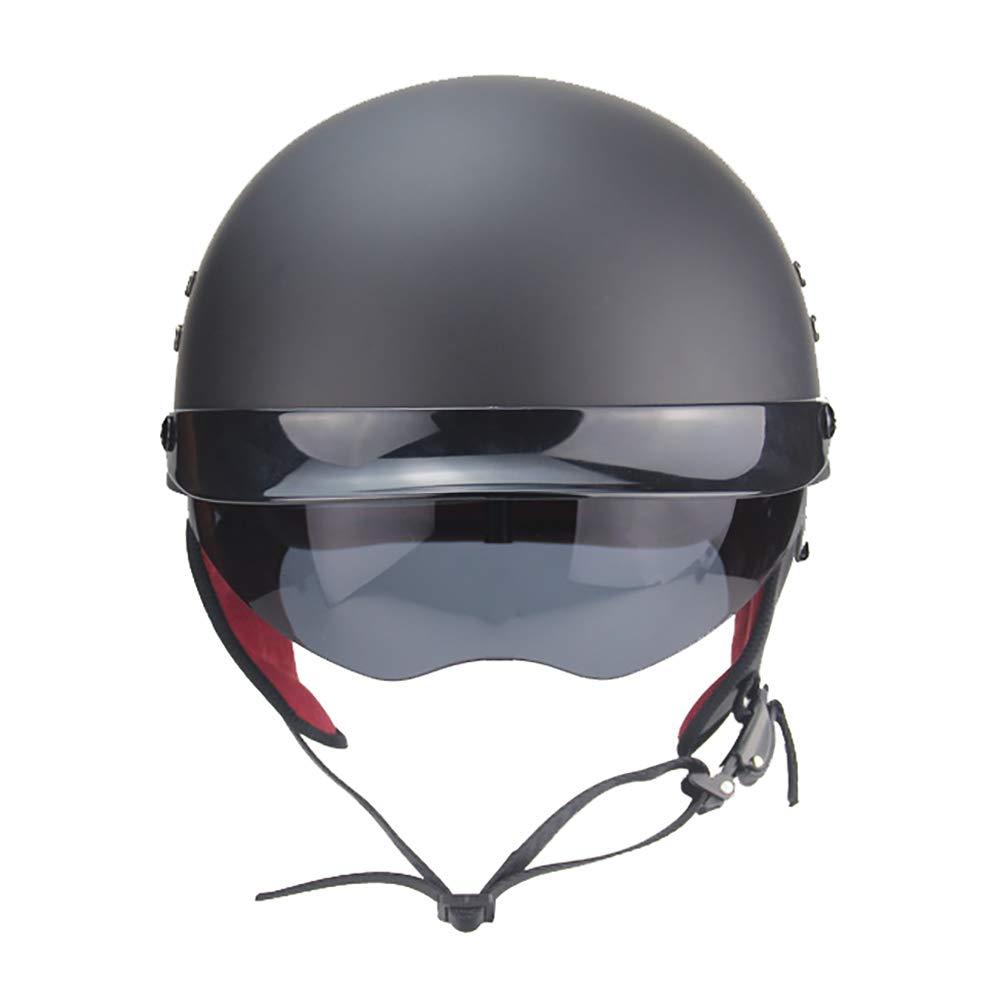 TKer Open Face Motorcycle Helmet with Goggles Universal Size for Adults Men & Women Jet Helmet Half Helmet Scooter Helmet Baseball Helmet DOT Approved, Matte Black,XL by TKer