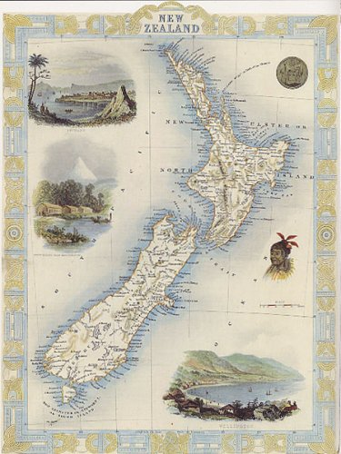 1800's New Zealand Wellington Auckland Map Large Vintage Poster Repro