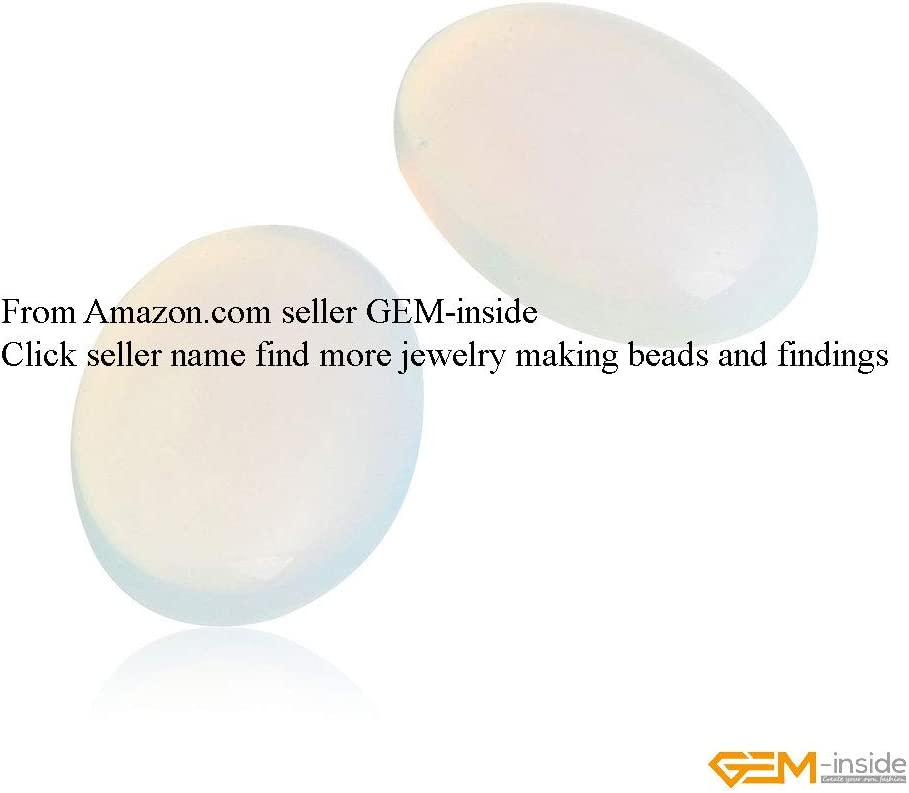 GEM-inside White Opalite Gemstone Cabochon for Jewelry Crystal Flat Back Oval Semi Precious 5PCS 6x8mm CAB