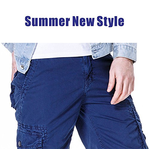 Men's Cotton Cargo Shorts Elastic Waist Loose Fit Pants Boys Summer Outdoor (32,Dark Blue) by MOACC (Image #4)