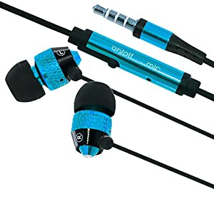 Cell Accessories For Less (TM) Stereo Handsfree Headset 3.5mm Earphones Headphones With Mic - Blue for Samsung Galaxy Victory 4G Bundle (Stylus & Micro Cleaning Cloth) - By TheTargetBuys