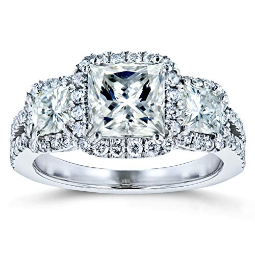 Princess Moissanite Halo 3-Stone Engagement Ring 2 4/5 CTW 14k White Gold, 8