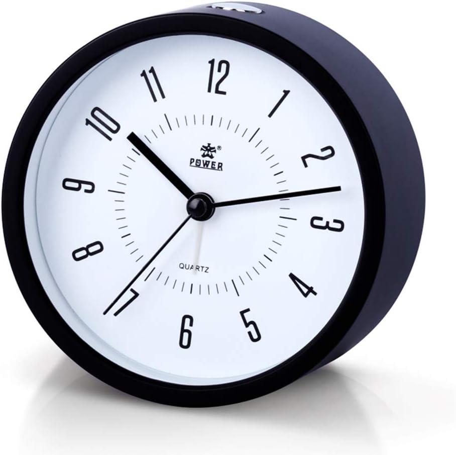 Laigoo Analog Alarm Clock Non-Ticking, Silent Travel Clock Vintage Alarm Clock Bedside/Desk Clock Battery Operated Round Bedroom/Bathroom Clock with Snooze & Nightlight Function(Black)
