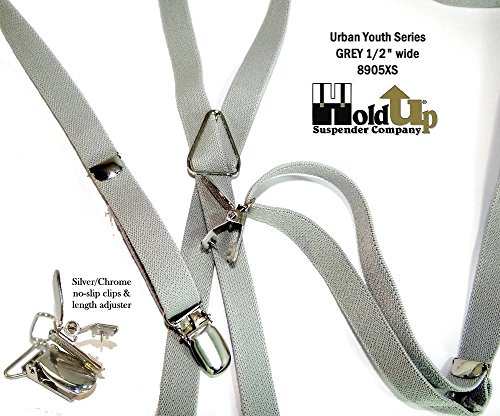 Urban Youth 1/2'' Hold-Up Suspender in X-back with No-slip Clips (Grey) by Hold-Up Suspender Co. (Image #10)