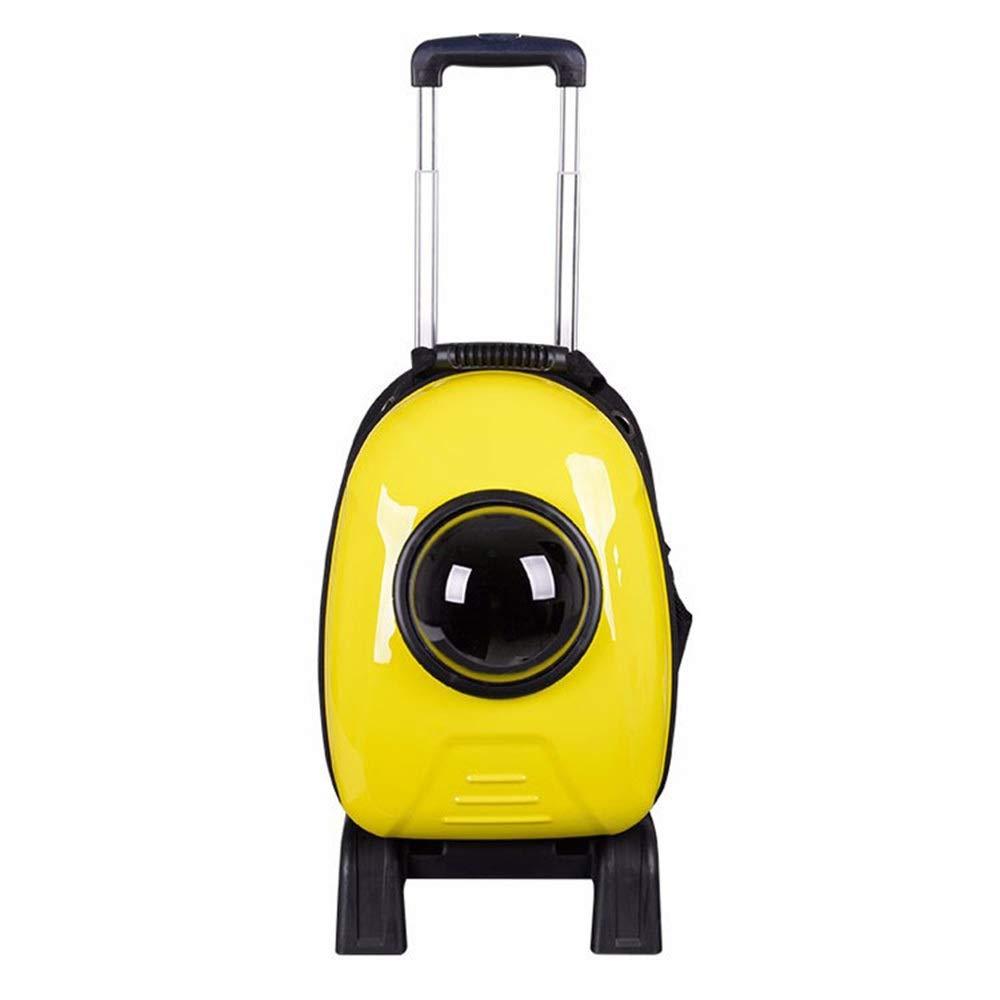 Goen Burake ペットバッグ ペット用キャリーバッグ 宇宙船カプセル型 お出かけ バックパック ペット 外出 ポータブル バックパック 旅行 犬旅行バッグ (Color : イエロー, サイズ : 24*31*43cm) B07QLW4GRS イエロー 24*31*43cm