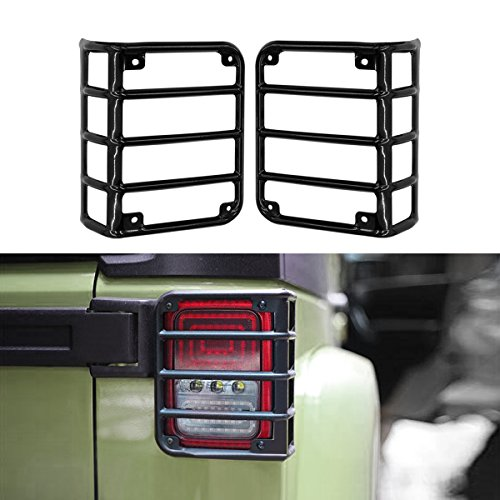 AMERICAN MODIFIED Jeep Wrangler Taillights Covers Tail Light Guard Rear Light Cover Black Jeep Wrangler Accessories JK JKU & Unlimited Rubicon Sahara Sports,2007-2018 -Euro Glossy Black,Pair