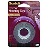 Scotch Products - Scotch - Exterior Weather-Resistant Double-Sided Tape, 1 x 60, Gray w/Red Liner - Sold As 1 Roll - Double-sided gray tape with red liner. - Weather-resistant, holds securely to indoor or outdoor surfaces such as stucco and brick. - Super strong, holds onto virtually any surface.