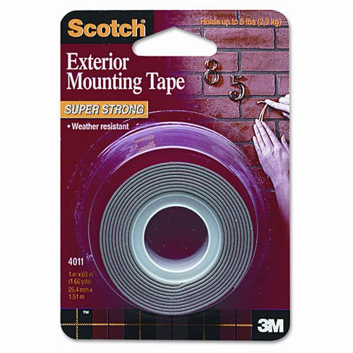 Scotch Products - Scotch - Exterior Weather-Resistant Double-Sided Tape, 1 x 60, Gray w/Red Liner - Sold As 1 Roll - Double-sided gray tape with red liner. - Weather-resistant, holds securely to indoor or outdoor surfaces suc