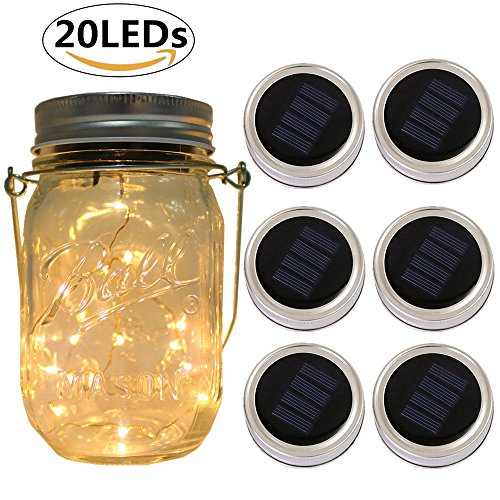 6-Pack Solar-powered Mason Jar Lights 20 LEDs (NO Jar & Handle),Warm White Glass Waterproof Fairy Hanging Lighting,Outdoor Pendant String Lids Fit for Regular Mouth Jars for Christmas Patio Lamp Decor