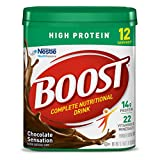 Boost High Protein Powder Drink Mix, Chocolate Sensation 17.7 Ounce Canister (Pack of 4) 14 Grans Protein per Mixed Serving