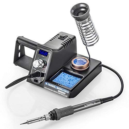 X-Tronic Model #3020-XTS Digital Display Soldering Iron Station - 10 Minute Sleep Function, Auto Cool Down, C/F Switch, Ergonomic Soldering Iron, Solder Holder, Brass Tip Cleaner with Cleaning -
