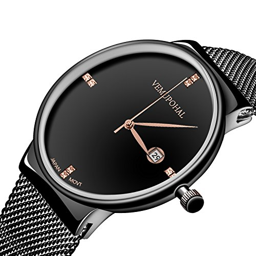 Mens Dress Watches Thin Case Analog Quartz Stainless Steel Waterproof Classic Casual Milanese Mesh Band Wristwatch Slim Dial Luxury Unisex Watch (Black Dial Super Slim Watch)