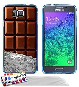 """Carcasa Flexible Ultra-Slim SAMSUNG GALAXY ALPHA / S801 de exclusivo motivo [Chocolate] [Azul] de MUZZANO  + 3 Pelliculas de Pantalla """"UltraClear"""" + ESTILETE y PAÑO MUZZANO REGALADOS - La Protección Antigolpes ULTIMA, ELEGANTE Y DURADERA para su SAMSUNG GALAXY ALPHA / S801"""