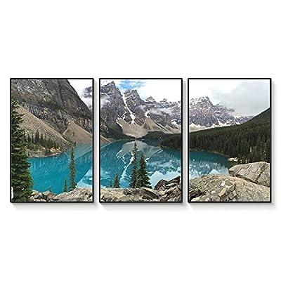 Floating Framed for Living Room Bedroom Landscape Gorge Mountain River Grassland for x3 Panels, Quality Creation, Magnificent Print