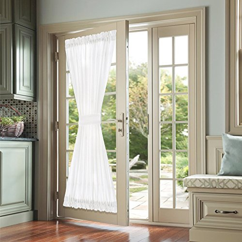 Semi Sheer French Door Curtains 72 inch Length Casual Weave Textured Privacy French Door Panel Curtains White French Door Panels Tieback Included 1 (Semi Sheer Door Curtain Panel)