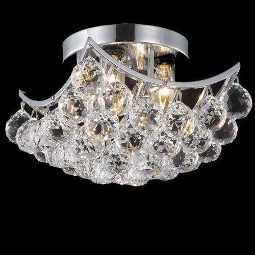 Elegant Lighting Corona Collection 9800F10C/RC 4-Light Flush Mount with Swarovski Spectra Crystals, Chrome Finish