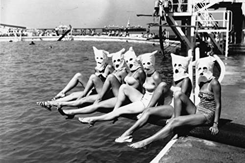 Masked Bathers Six Women On Diving Board in Masks Photo Art